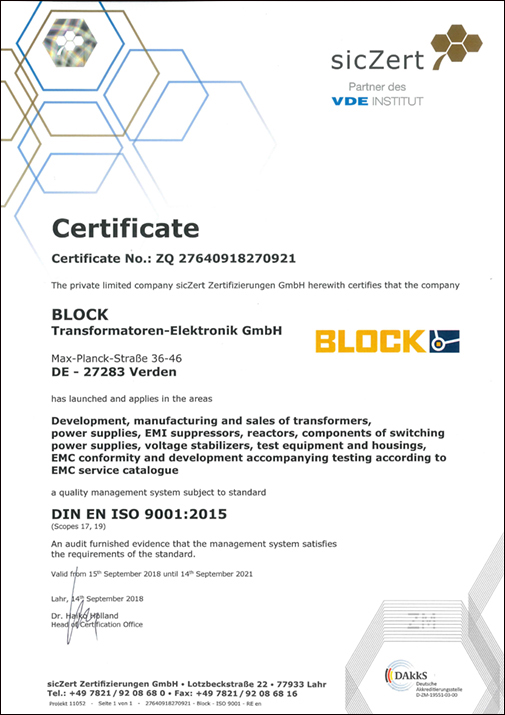Quality and environmental certificates | BLOCK - perfecting